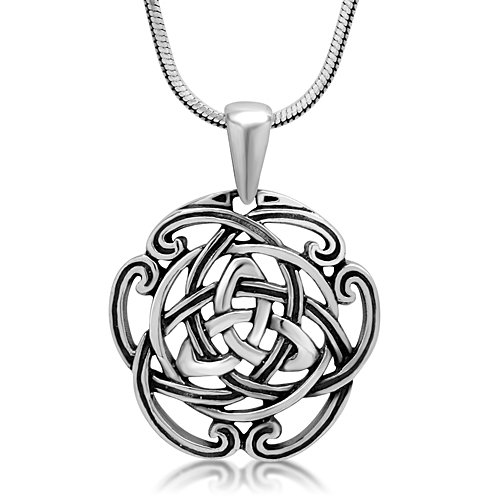 925-Sterling-Silver-Triquetra-Trinity-Celtic-Knot-Open-Round-Pendant-Necklace-18-inches-0