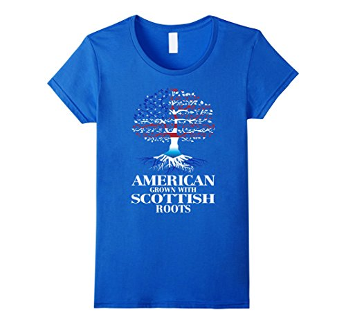 American-Grown-with-SCOTTISH-Roots-Great-Gift-Tshirt-Female-Small-Royal-Blue-0