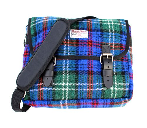 a3ca38556c067 Blue And Red Tartan Harris Tweed Messenger Bag – Made In Scotland