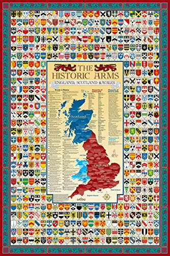 Map Of England Poster.England Scotland Wales Family Crest Coat Of Arms Map Poster