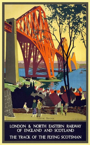 FORTH-BRIDGE-RAILWAY-ENGLAND-SCOTLAND-TRACK-OF-FLYING-SCOTSMAN-TOURISM-TRAVEL-VINTAGE-POSTER-REPRO-0