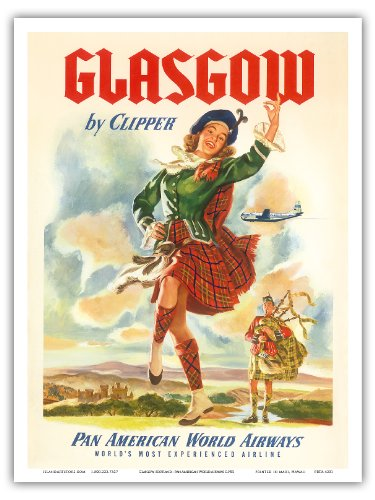 Glasgow-Scotland-by-Clipper-Pan-American-World-Airways-Vintage-Airline-Travel-Poster-c1951-Master-Art-Print-0