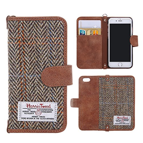 Harris-Tweed-Wallet-Case-Credit-Card-Holder-Non-Slip-Cotton-Material-Retro-Magnetic-Flip-Folio-Cover-Case-for-iPhone-6-and-iPhone-6s-47-Inch-0
