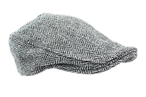 Irish Touring Cap Harris Tweed Grey Herringbone - ScotsUSA c782b83b3603