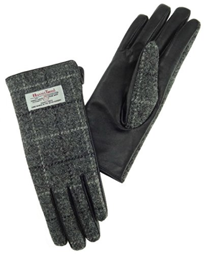 Ladies-100-Harris-Tweed-Traditional-Grey-and-White-Tartan-Check-and-Leather-Gloves-0