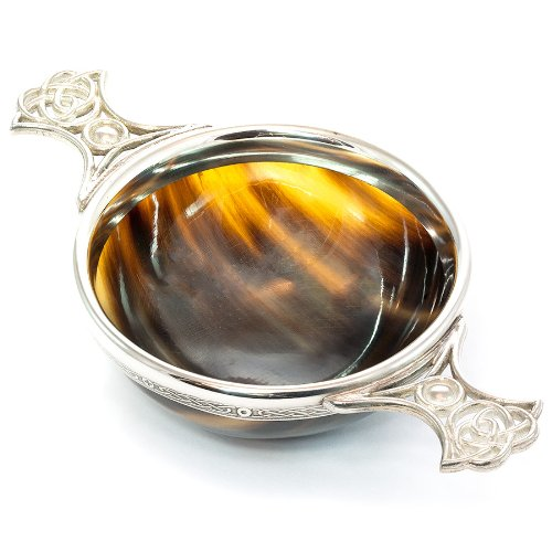 Large-Pewter-and-Ox-Horn-Toasting-Quaich-Traditional-Scottish-Whisky-Quaich-0