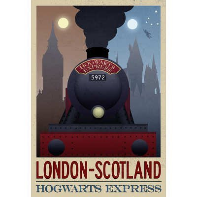 London-Scotland-Hogwarts-Express-Retro-Travel-Poster-0
