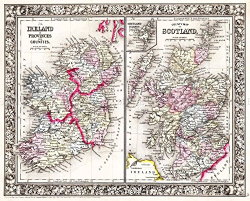 MAP-ANTIQUE-1864-MITCHELL-SCOTLAND-IRELAND-OLD-LARGE-REPRO-POSTER-PRINT-PAM0339-0