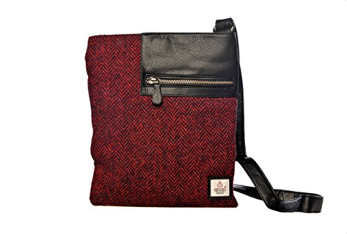 Stunning-Authentic-Herringbone-Harris-Tweed-Medium-Cross-Body-Bag-0