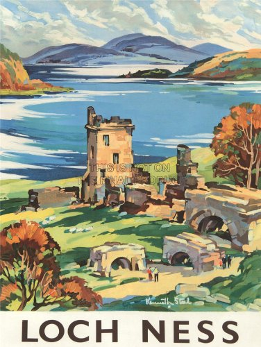 TRAVEL-SCOTLAND-CASTLE-LOCH-NESS-BRITISH-RAILWAYS-FINE-ART-PRINT-POSTER-BB9794-0