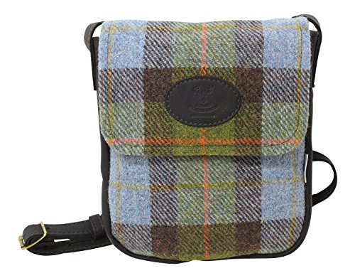 Wild-Scottish-Deerskin-Designer-Leather-Authentic-MacLeod-Tartan-Check-Harris-Tweed-Cross-Over-Bag-0